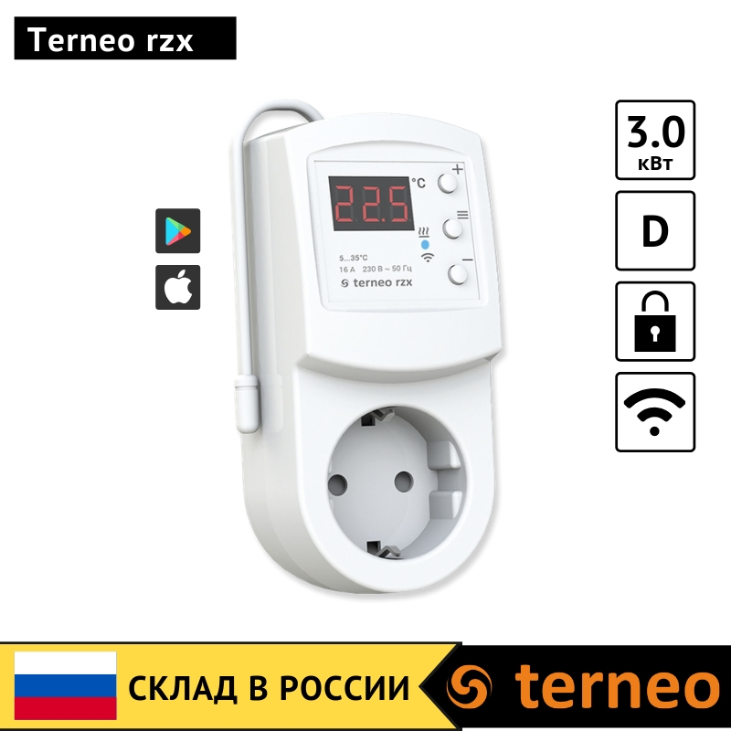 Terneo Rzx - Electronic Thermostat In The Socket Plug With Digital Control And Wireless Wi-Fi For Infrared Heaters And Convector