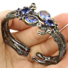 Sublime Antique Big Heavy 37.4g Rich Blue Violet Tanzanite Black Gold Silver Bangle Bracelet 7.5inch 42x25mm