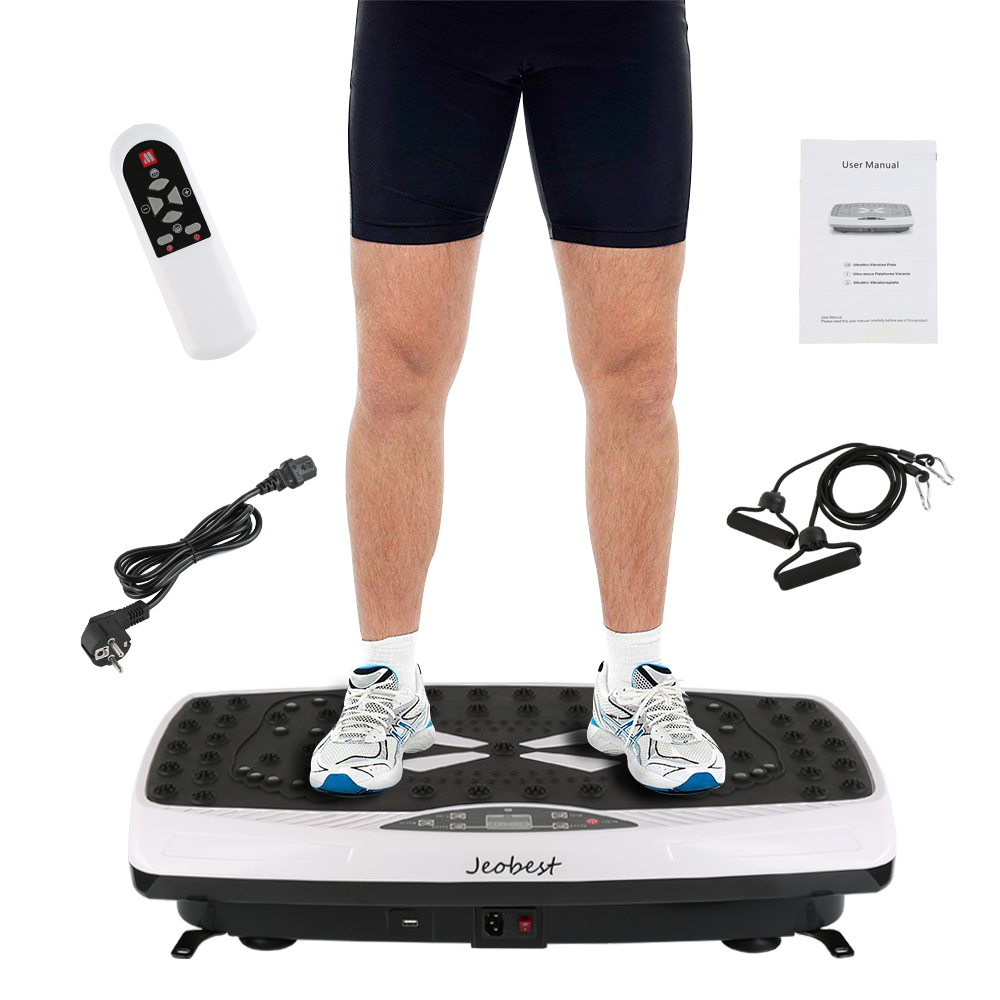 Exercise Fitness Slim Vibration Machine Trainer Plate Platform Body Shaper with Resistance Bands+ Remote Control Tool Kit HWC