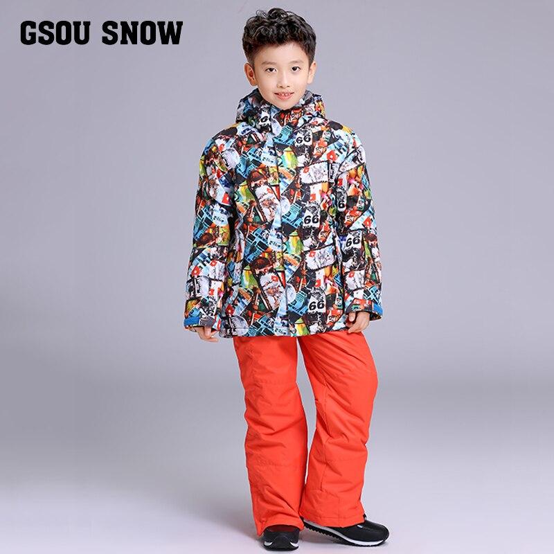 GSOU neige marque garçons veste de Ski pantalon Ski Snowboard costume coupe-vent imperméable enfants enfants vêtements pantalon Super chaud costume - 2