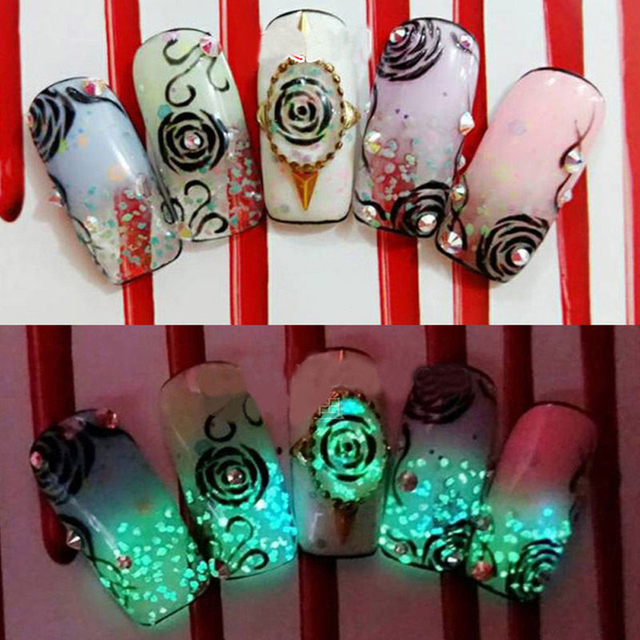 3d Nail Art Acrylic Tips Decoration Diy Glow In The Dark Glitter
