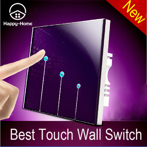 Purple Tempered Glass Touch Switch,Touch Light Switch 3 Gang 1 Way Switch, Single Touch Control Wall Switch,Free Shipping 2017 free shipping smart wall switch crystal glass panel switch us 2 gang remote control touch switch wall light switch for led