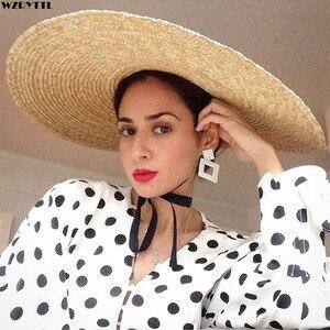 Image 1 - Elegancki naturalny 18cm duży słomkowy kapelusz z sznurowanym szerokim rondem Kentucky Derby kobiet kapelusz wstążka dziewczyna lato ochrona przed słońcem kapelusz plażowy