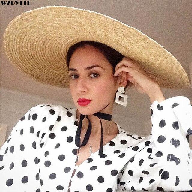 Elegant ธรรมชาติ 18 ซม.ฟางหมวกลูกไม้กว้าง Brim Kentucky DERBY หมวกผู้หญิงริบบิ้นสาวฤดูร้อน Sun หมวกชายหาด