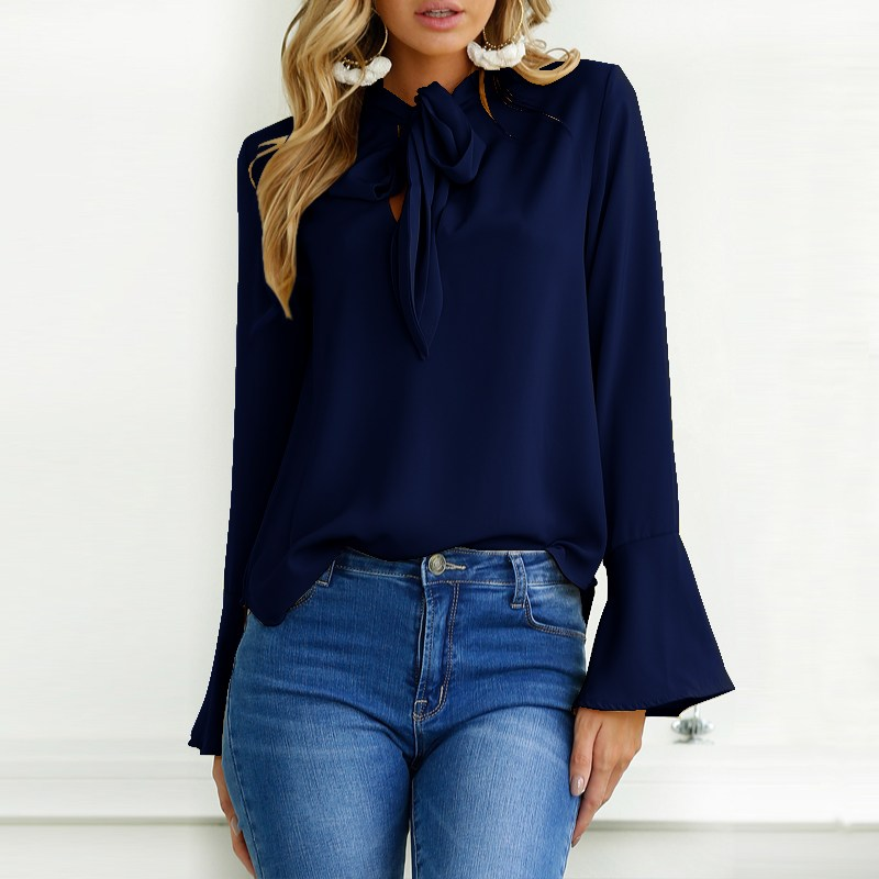 ZANZEA 2018 Spring Lace-up Bow Tie Long Flare Sleeve Women Blouse Casual Solid Baggy Chic Basic Party Shirts Pullovers Plus Size