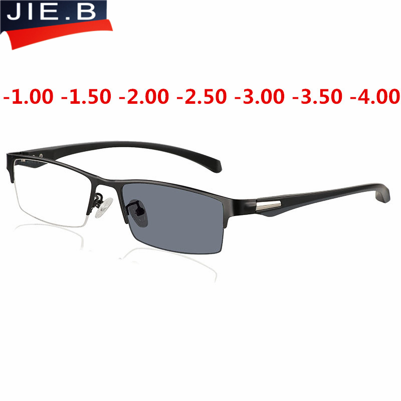 Nuevo Sol gafas fotocrómicas miopía gafas ópticas hombres estudiante acabado miopía gafas de prescripción marco medio borde-1,0-4,0