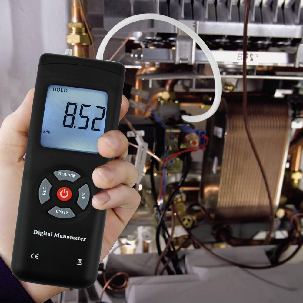 Portable Handheld Air Vacuum/Gas Pressure Gauge Meter Professional Digital Manometer 11 Units With Backlight +/-13.78kPa +/-2PSI