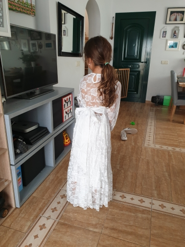 Girl Lace Long Dress Flower For Age 2-12 Baby Kids Princess Formal Wedding Prom Party Dress White/ Beige Big Bow Sweet Clothing