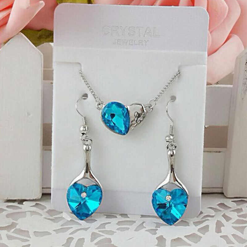 Free Gift Away For Women Wedding Bridal Jewelry Sets Party Trendy Occasion Crystal Jewellery Sets Silver Plated Navy Blue Stone