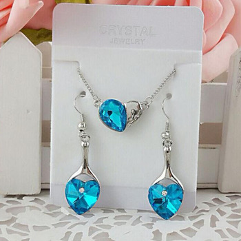 Free Gift Away For Women Wedding Bridal Jewelry Sets Party Trendy Occasion Crystal Jewellery Sets Silver Plated Navy Blue Stone image