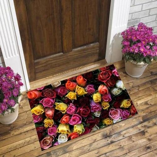 Else Yellow Orange Red Pink Roses Flowers Floral 3d Pattern Print Anti Slip Decorative Floor Door Mat Home Entryway Livingroom