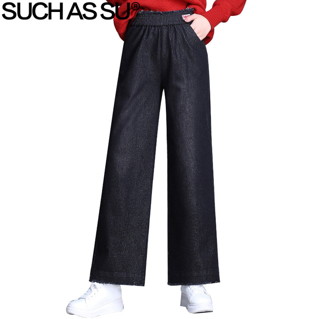 Women Jeans Pants 2018 New Fashion Fall Winter Elastic High Waisted Jean Trousers M-3XL Plus Size Female Denim Wide Leg Pants