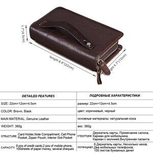Image 2 - Мужской длинный клатч MISFITS, деловой вместительный кошелек из натуральной воловьей кожи с двумя молниями и кармашком для телефона