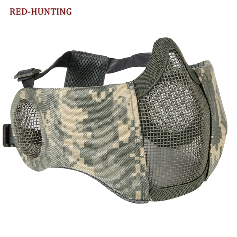 Paintball Steel Mask Helmet Half Lower Face Metal Steel Net Mask Hunting Ears Protective CS Airsoft Tactical Accessories