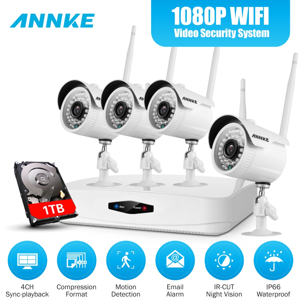 ANNKE 1080P HD 4CH Wireless WIFI NVR Kit CCTV System IP66 Weatherproof Indoor Outdoor Cameras Home Video Surveillance Kit HDD 1T annke nvr kit 4 cameras 1080p 4ch wireless wifi nvr ip network cctv security camera system surveillance kit ip66 indoor outdoor