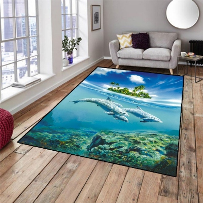 Else Tropical Island Under Sea Swim Dolpins 3d Print Non Slip Microfiber Living Room Decorative Modern Washable Area Rug Mat