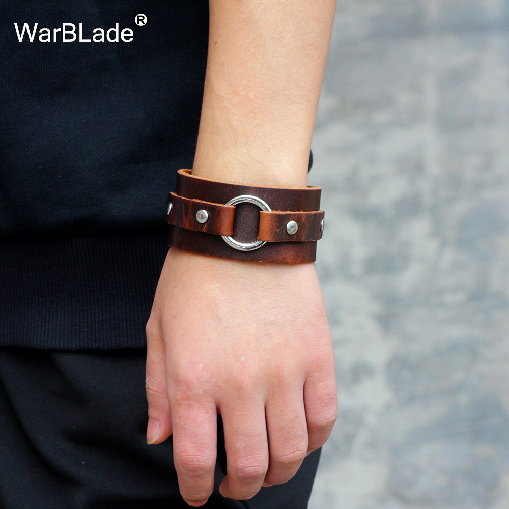 WarBLade 2018 New Fashion Genuine Leather Wide Bracelets Bangles Black Men Wrap Bracelet Punk Cuff Wristband For Women Jewelry
