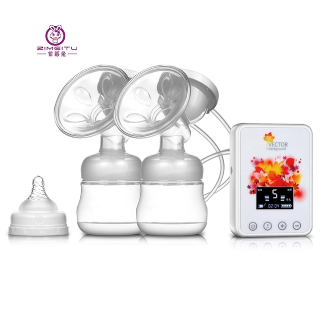 Double Intelligent Electric Breast Pump Massage Noise Reduction Frequency Conversion Backflow Protection LCD Display BPA Free