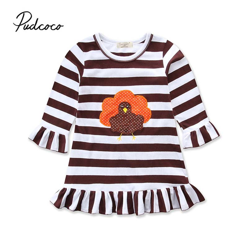 Pudcoco 2018 Kids Toddler Baby Girls Dress Thanksgiving Turkey Striped Ruffle Dress Casual Loose Summer Clothes Outfit 1-6Y striped ruffle hem cami top dress