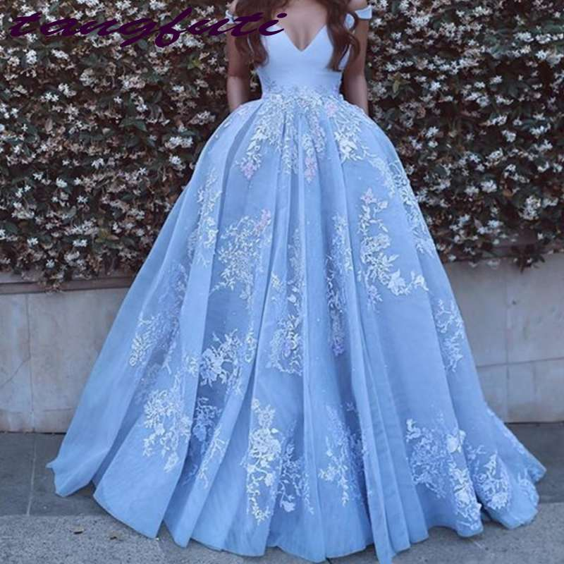 Sky Blue Arabic Dubai V Neck   Prom     Dress   Special Occasion   Dresses   Off The Shoulder Lace Appliques Long A Line Party   Dresses