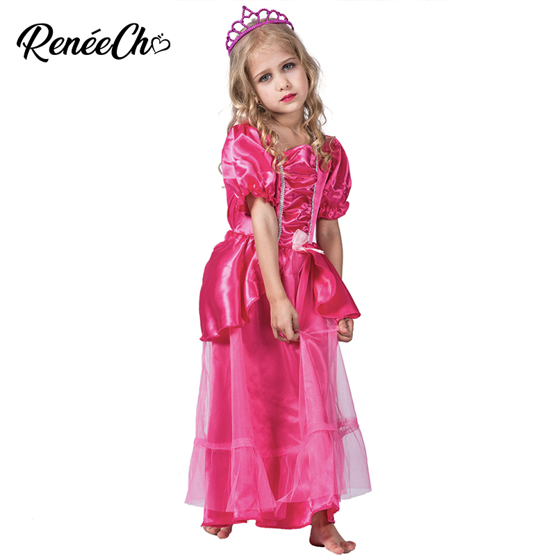 2018 new arrival Halloween costume for kids Pink Princess Dress classic birthday dresses for party child carnival costume