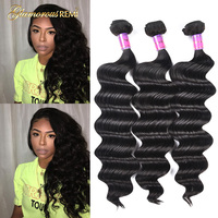 Peruvian Virgin Hair Loose Wave 3 Bundles 8A Unprocessed Loose Deep Wave Wet and Wavy Human Hair Extensions Natural Black Color