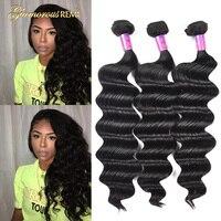 Peruvian Virgin Hair Loose Wave 3 Bundles 8A Unprocessed Loose Deep Wave Wet and Wavy Human Hair Extensions Natural Black Color