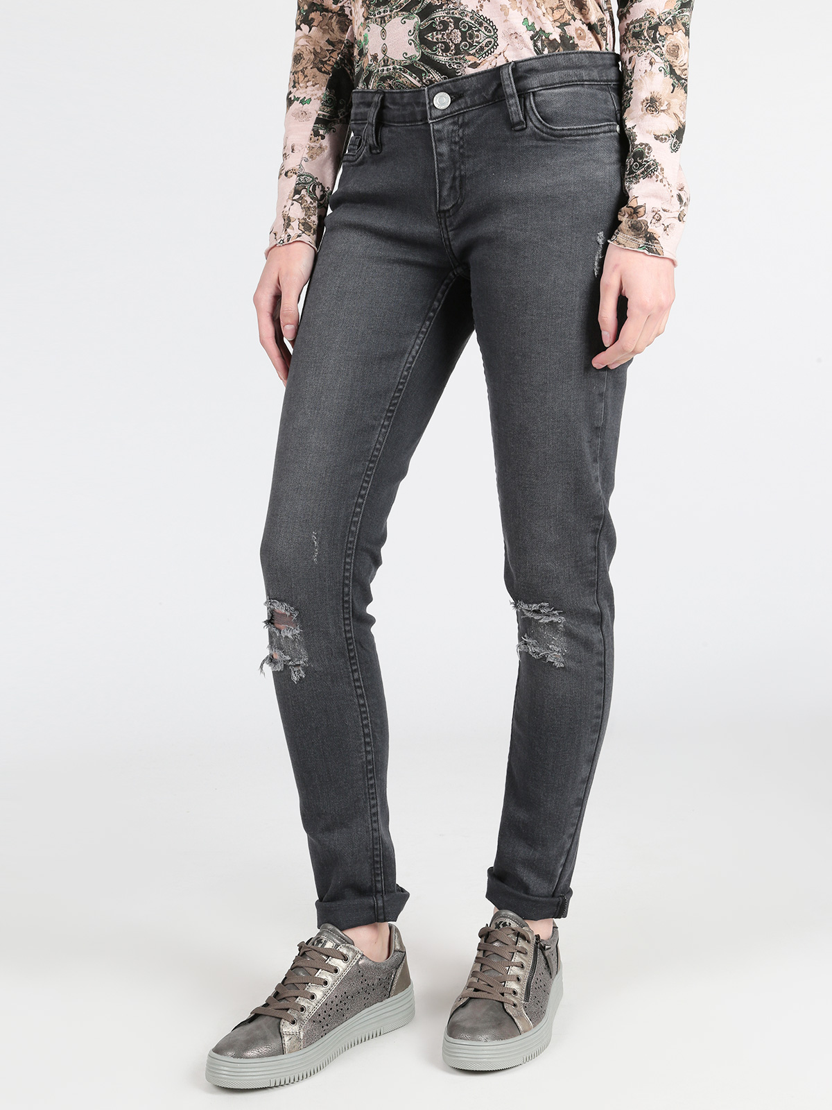 Jeans Woman Elastic Slim Pencil Spring Ripped Jenas