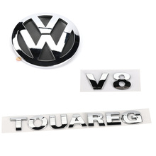 1set Chrome V8 TOUAREG Rear Badge Boot Emblem for VW Touareg 2003-2010 7L6 853 630 A