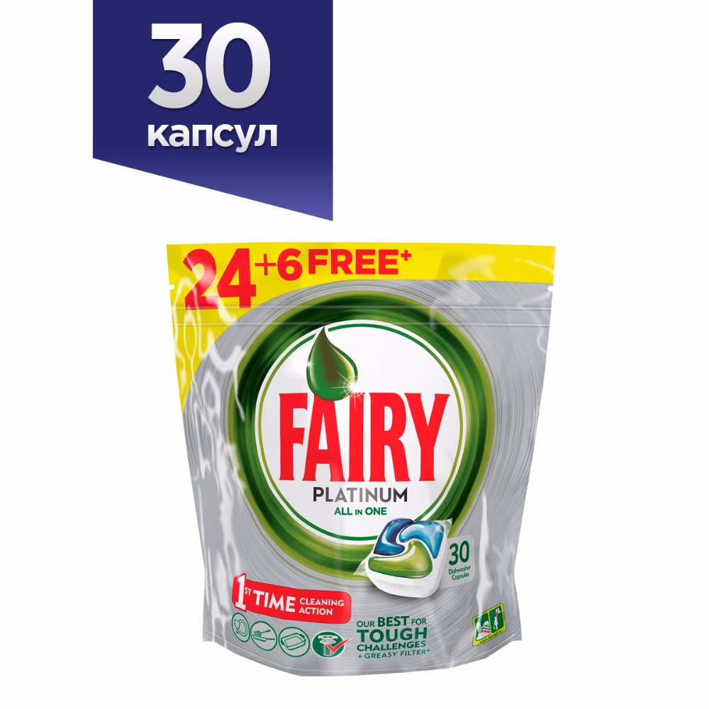 Dishwasher Tablets Fairy Platinum All In One Original (Pack of 30) Tableware Washing Dishes Detergents for Dishwashers