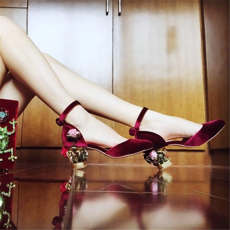 Ankle Strap High Heels Shoes Woman Flower Birdcage Heel Luxury Designer Women Pump Flock Leather Chaussures Femme Ete 2018 Shoes