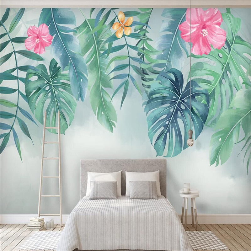 Nordic minimalist small fresh green leaves watercolor style wall professional production wallpaper mural custom photo