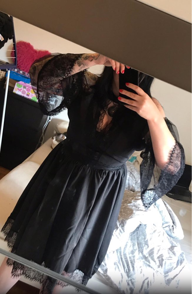 Rosetic Gothic Skater Dress Lace Mesh Girl Summer Party Travel Fashion Slim Sexy Bella Morte Maiden Wicked Casket Cutie Dresses