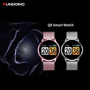 Image 2 - Rundoing q8 rosa versão relógio inteligente tela colorida oled rastreador de fitness monitor sono freqüência cardíaca pressão arterial smartwatch