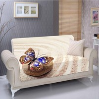 Else Yellow Beach Sand Stone Blue Butterfly 3D Print Living Room Stain Resistant Printed Furniture Protector Seat Sofa Cover