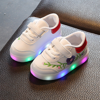 Children Glowing Sneakers Chaussure Led Enfant Embroidery Flowers Chinese Style Kids Girls Casual Shoes Boys School