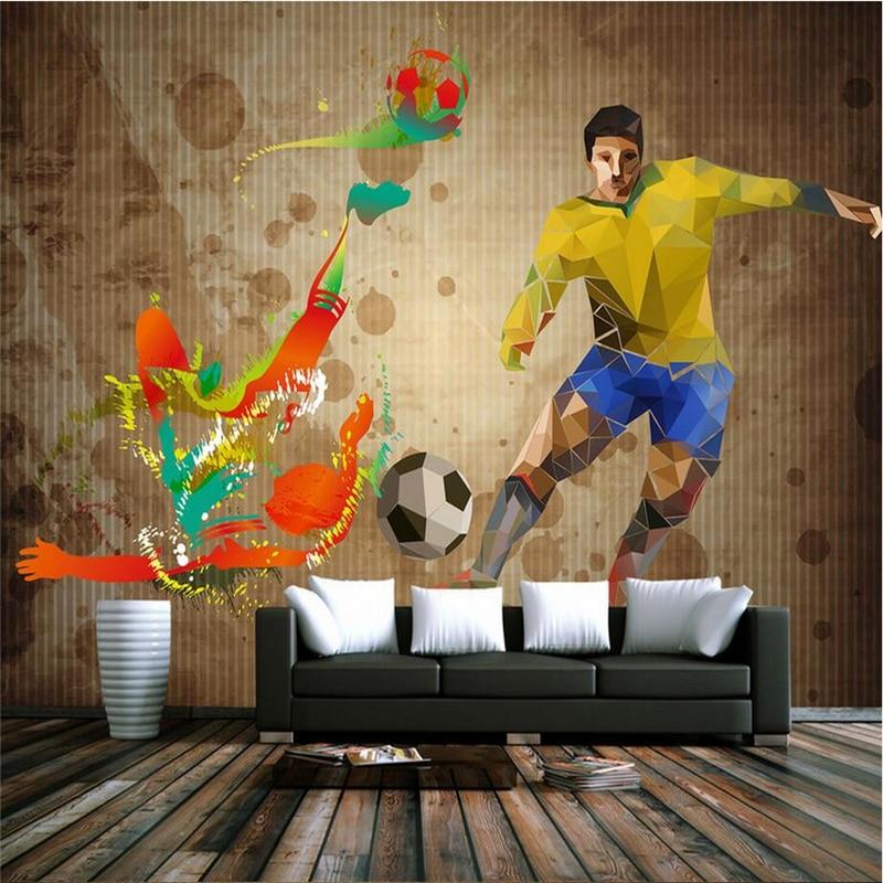 Custom Mural Wallpaper Soccer Star Bar Wallpaper Abstract Wall Murals Living Room Football World Cup Graffiti TV Background Wall free shipping european football club football star messi portrait wallpaper mural