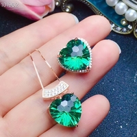 KJJEAXCMY Boutique jewelry 925 Silver Previous Natural Green Crystal Ring + Pendant + Necklace Set Support Identification