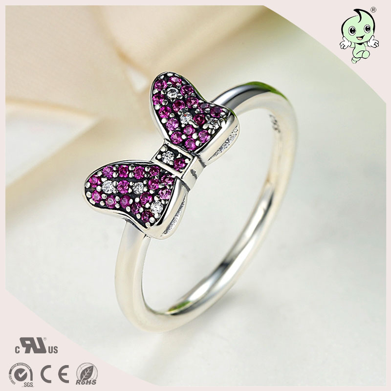 P&R products Cute Cartoon Pink Stone Bowknot Design 100% 925 Sterling Silver Bowknot Ring for women