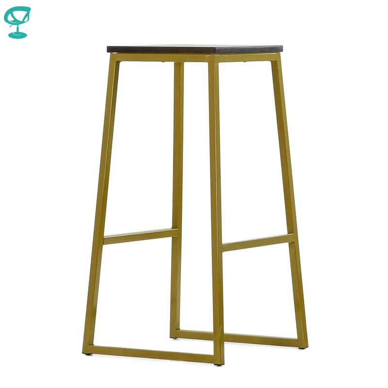 N302YlBrWood Barneo N-302 High Yellow Metal Brown Wood Seat Interior Stool Bar Chair Kitchen Furniture Free Shipping In Russia