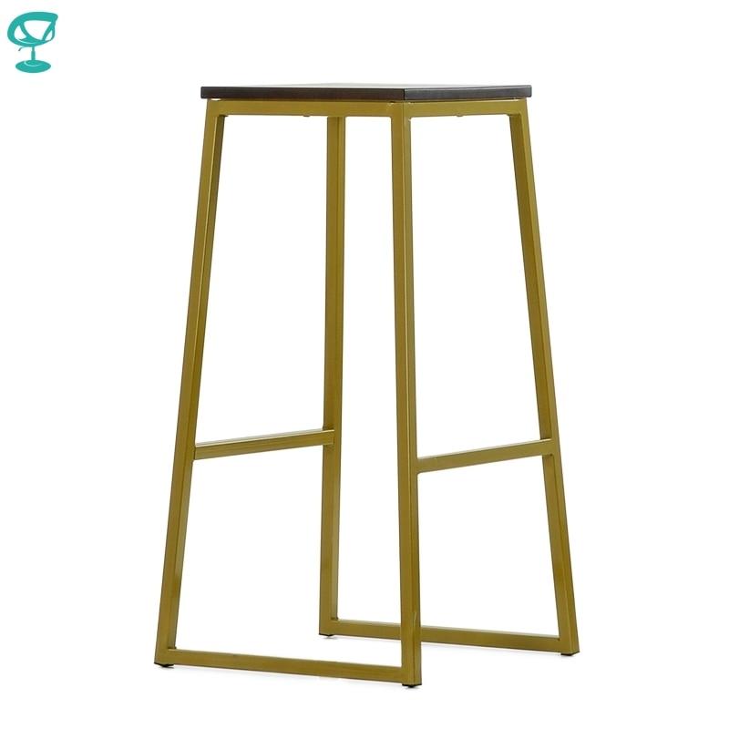 N302YlBrWood Barneo N-302 High Yellow Metal Brown Wood Seat Interior Stool Bar Chair Kitchen Furniture Free Shipping In Russia