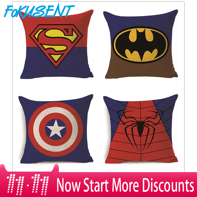 FOKUSENT Del Fumetto Super-Hero Serie Fodere per Cuscini Superman Spider Man Bat