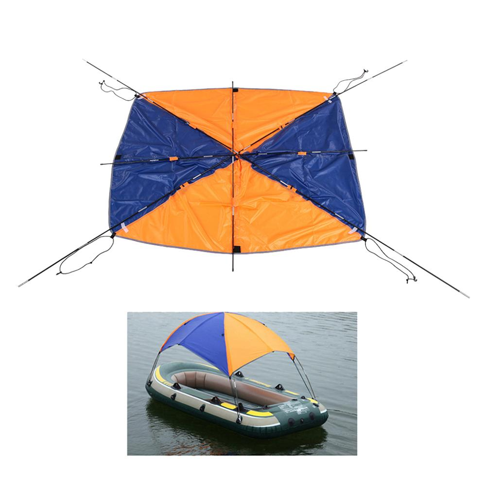 Strong-Willed Uv & Sun Protection 3 Person Inflatable Boat Fishing Kayak Boat Shelter Awning Cover Fishing Tent Sun Shade Canopy With Hardware Selected Material