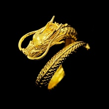 ФОТО  adjustable gothic punk rock mystic flying chinese dragon shenlong open ring gold tone men jewelry gift