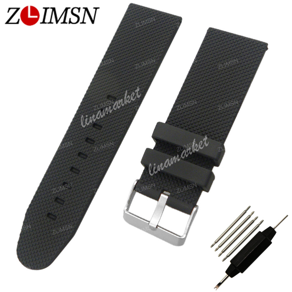 ZLIMSN 26mm Silicone Watchband TOP GRADE Black Rubber Waterproof Diving Rubber Bands Straps Bracelets Watchbands Replacement 28mm new high quality red waterproof diving silicone rubber watch bands straps