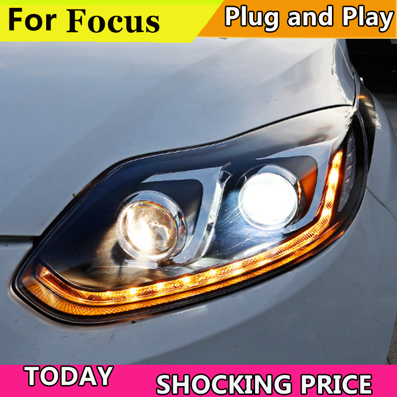 Car Styling For Ford Focus MK3 headlights 2012 2013 2014 Dynamic turn signal Headlight front Bi Xenon Lens Double Beam HID KIT