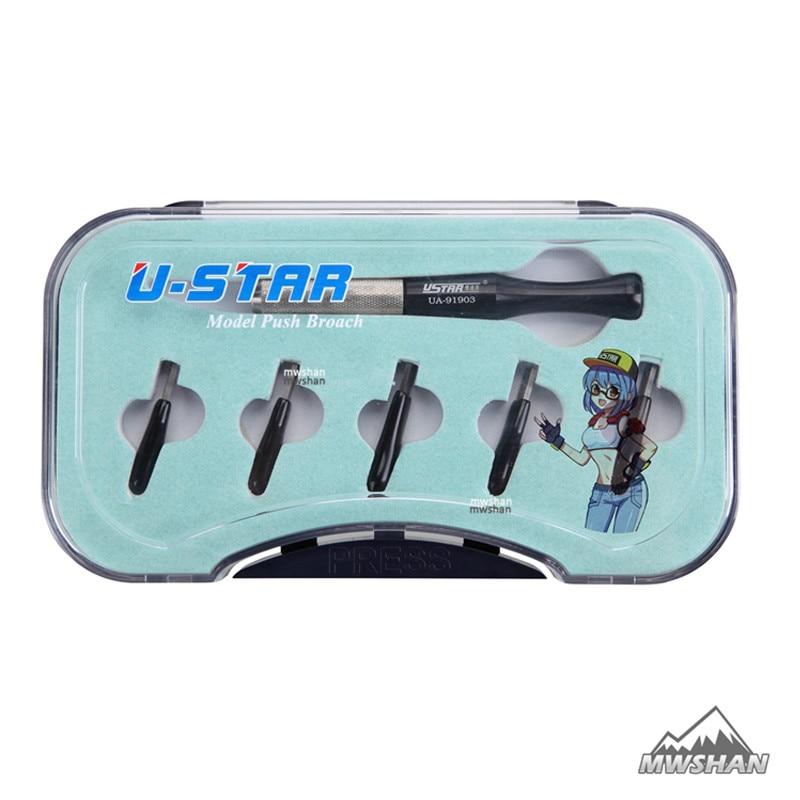Ustar 91903 Model Push Broach for Line Cut w/5 Cutting Heads Hobby Cutting Tools Accessory DIY