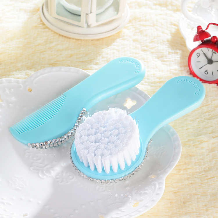 Купить с кэшбэком MIYOCAR Bling Bling blue beautiful set of good quality baby comb and bling blue white  crown pacifier for baby shower gift