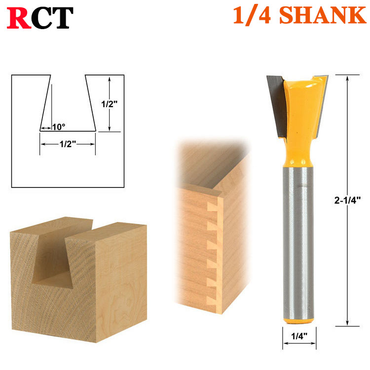 1pc 14 Degree1/2 Dovetail Joint Router Bit - 1/4 Shank Woodworking cutter Tenon Cutter for Woodworking Tools 2 pcs 1 2t type shank 3teeth tenon cutter 4mm reversible glue bits of high quality dovetail router bits box joint router bit