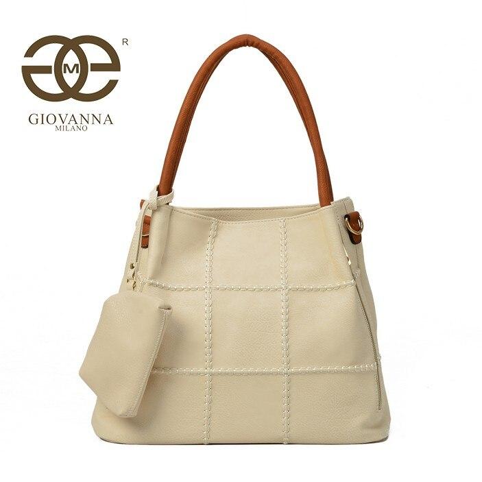 Giovanna Milano bolso mujer de hombro acolchado asa de mano con bandolera con monedero pequeño cierre de cremallera, exterior liso. 1